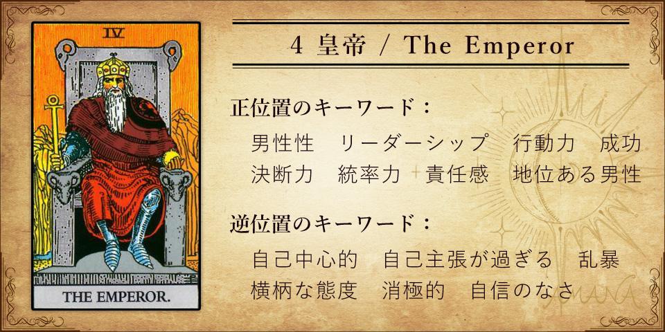 【タロットカード解説】4 皇帝 / The Emperor